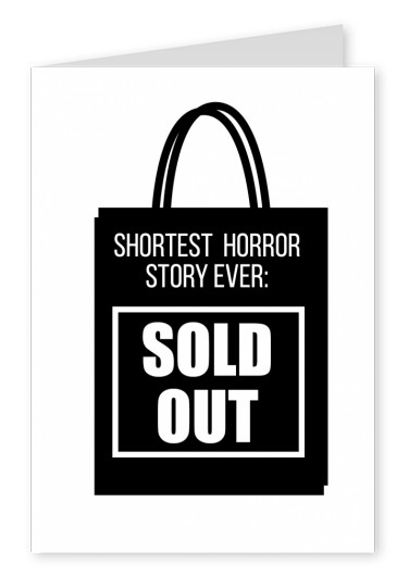 Sold out lettering on black shopping bag