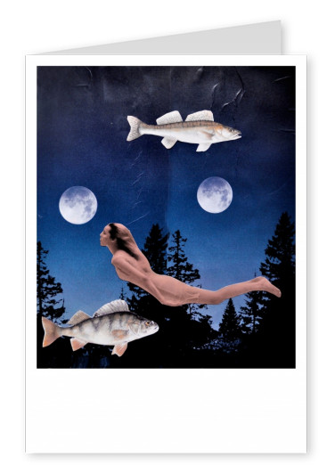 collage by Belrost showing woman, fishes and 2 moons