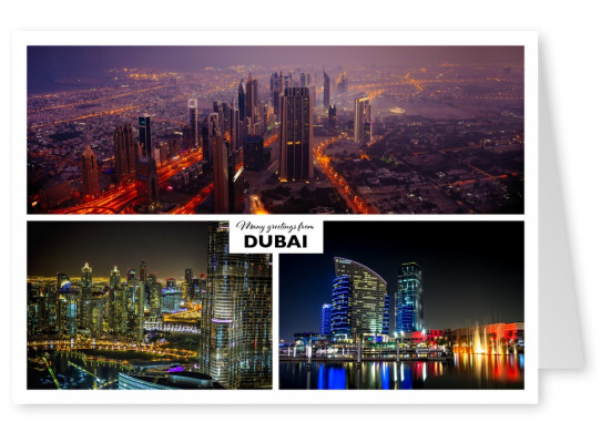 dubai collage postcard skyline photos