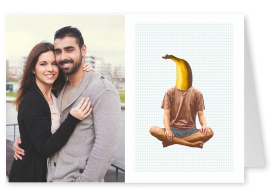 Man on yoga position with banana head
