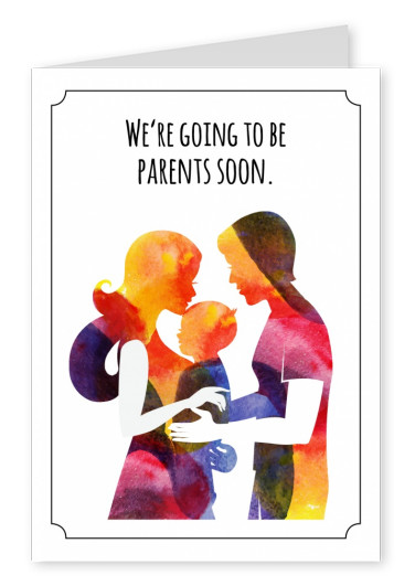 Family in watercolour background, parent announcement
