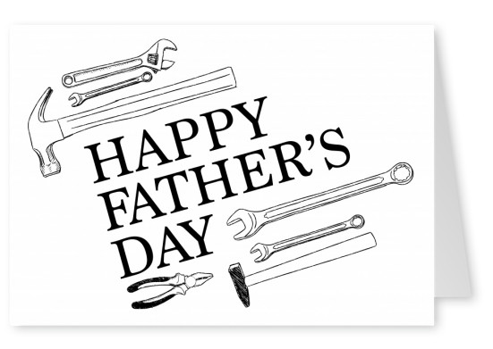 Father's Day tools as black and white sketch