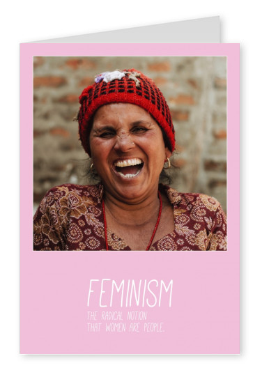 template card with feminism definition