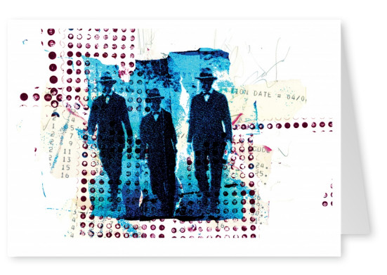 collage by belrost three men in blue