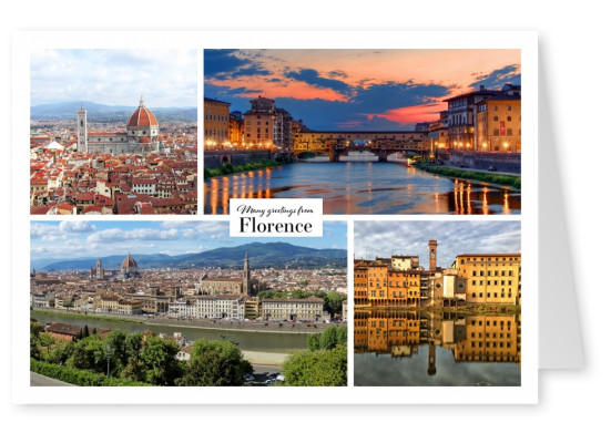 florence italy collage postcard