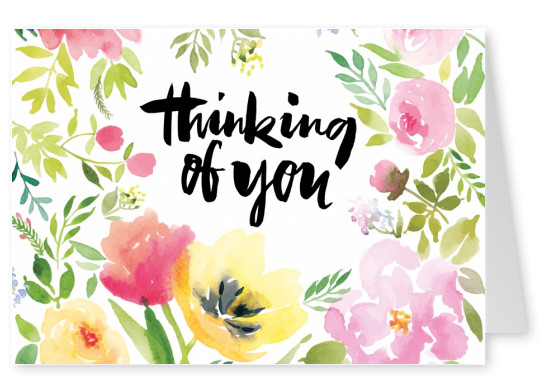 flower illustration quote thinking of you postcard motive