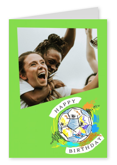 Green template with colourful football. Happy Birthday.