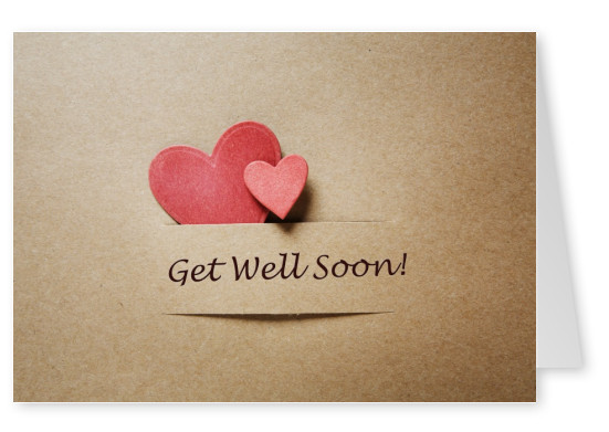 get well soon on pasteboard