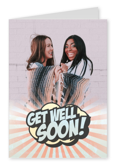 Get well soon in superhero lettering