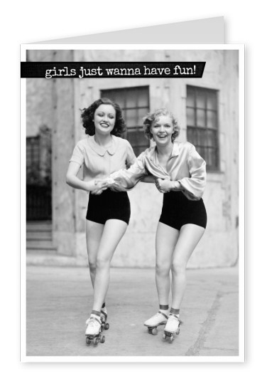 Girls just wanna have fun- Lettering on retro background