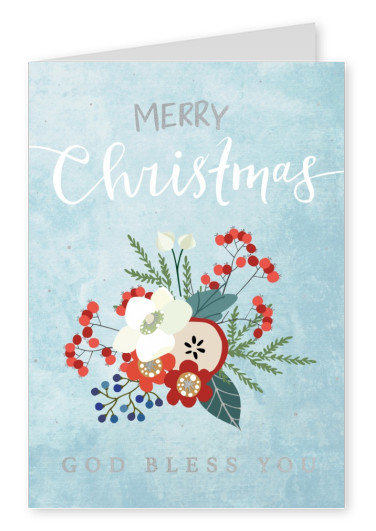 postcard Merry Christmas god bless you