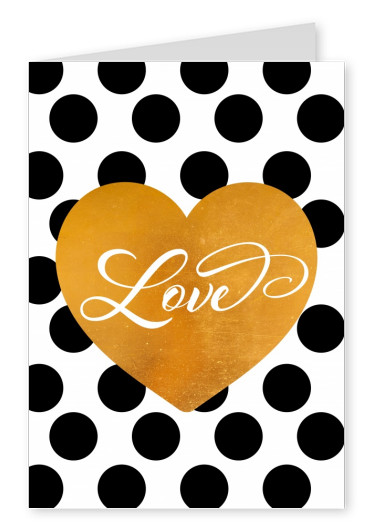Love handwritten in golden heart with black dots background