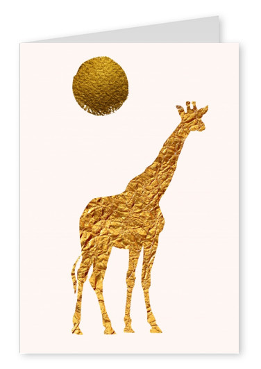 Kubistika giraffe in gold with sun