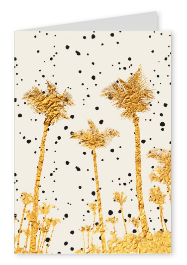 Kubistika golden palm trees with black dots