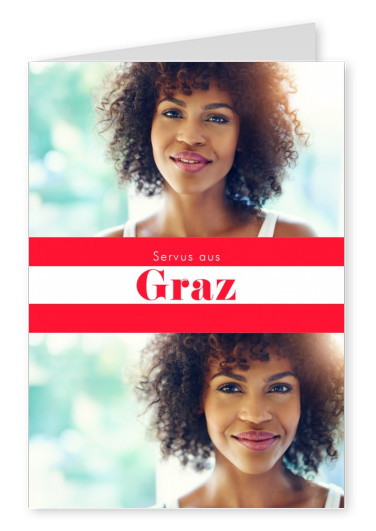 Graz hello in Austrian language red white