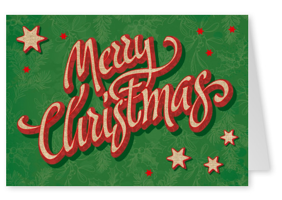 Green Vintage Christmas Card with Stars and Lettering