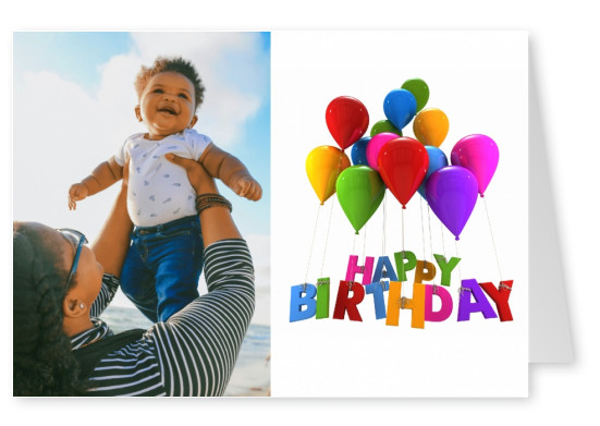 colourful balloons happy birthday layout as greeting card postcard