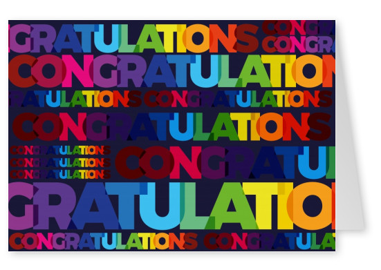 Congratulations lettering in various colours