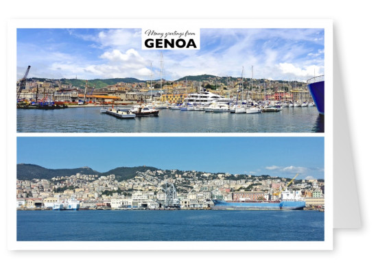 two panorama photos of Genoa's port landscape