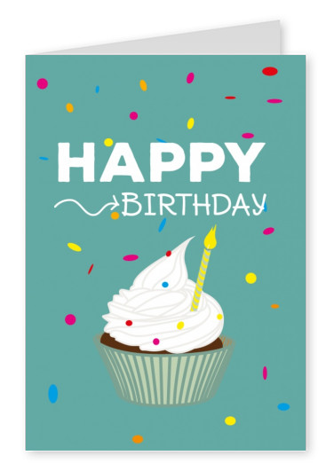 muffin happy birthday greeting card design