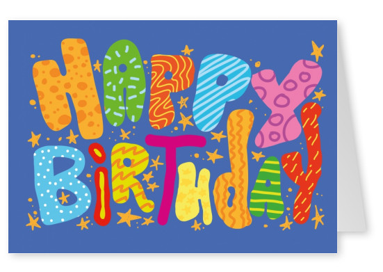 Happy Birthday Retro lettering children style