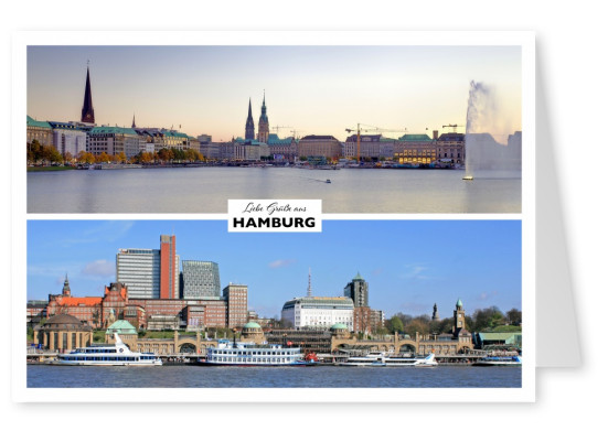 Hamburg's panorama view over the Alster at the city skyline