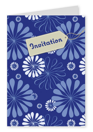 blue florap pattern with label tag