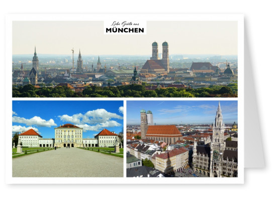 Munich's sights - Nymphenburg castle, city hall, panorama view