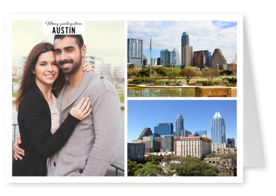 Collage with two sights of Austin
