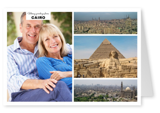 three photos of Cairo's skyline and pyramids