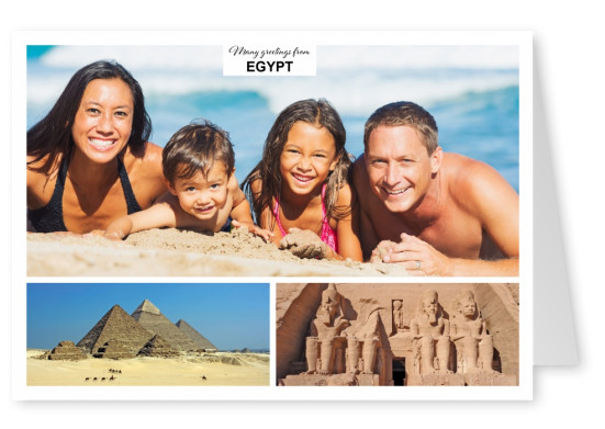 two photos of pyramids in the desert an temple
