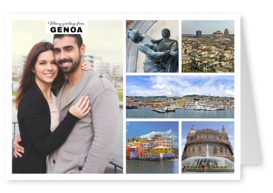 five photos of Genoa with port city and fountain