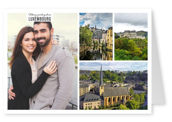 three photos of idyllic capital of Luxembourg with burg and tree-infested gorge