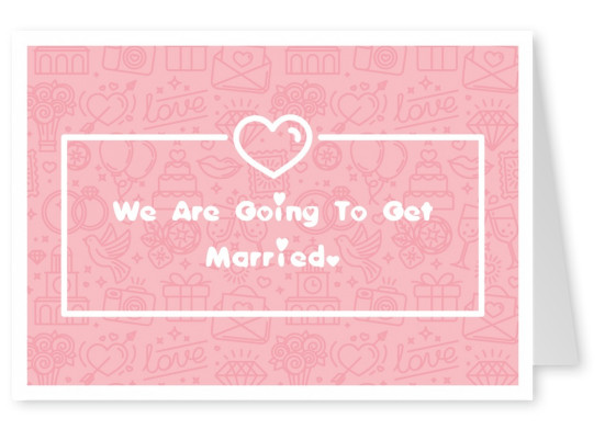 Wedding announcement with illustrated pattern background with marriage items and white heart an white lettering