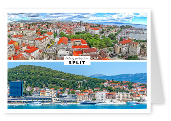 Split's harbour and view on the roofs of th city