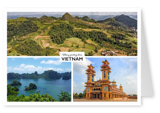 Vietnam's rangy landscape and a temple in three pictures