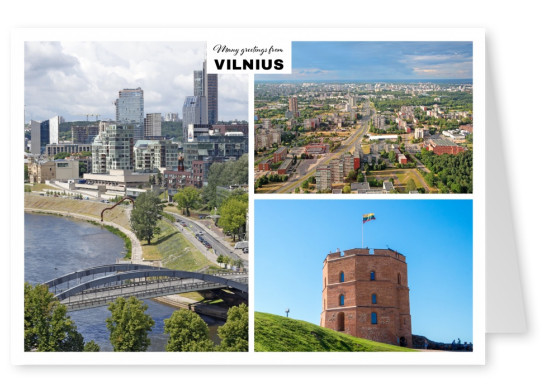 Vilnius - old city with river Vilnia and Vilnius castle
