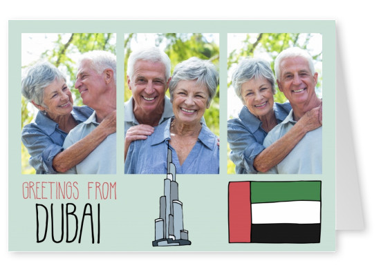 template with illustrations from Dubai