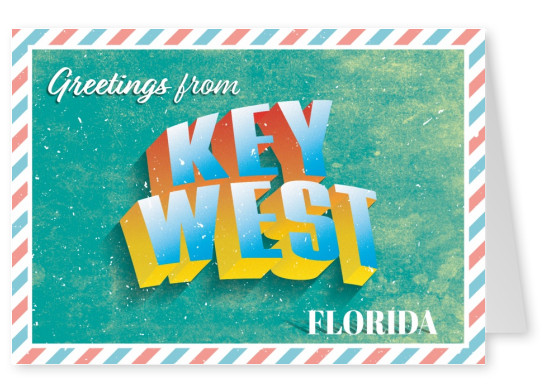 greetings from key west, florida in a 3d retro font
