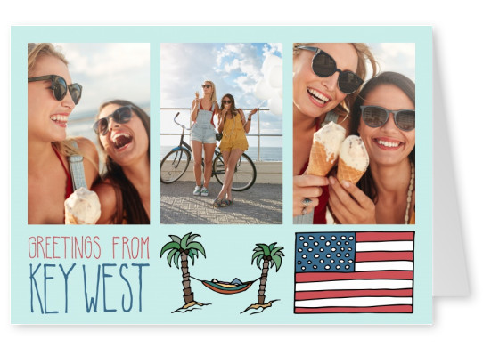 template with illustrations from Key West USA flag and palm trees