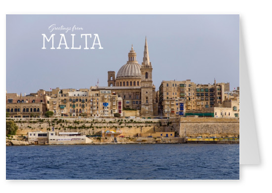 Postcrad from Malta with photo of Valletta