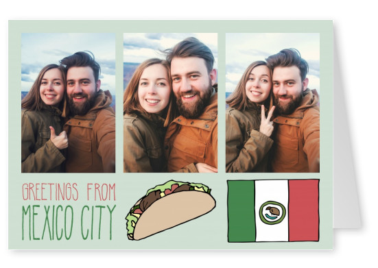 template with illustrations from mexico city