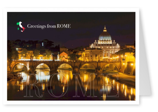 Photo Rome St.Peter's and Tiber by night