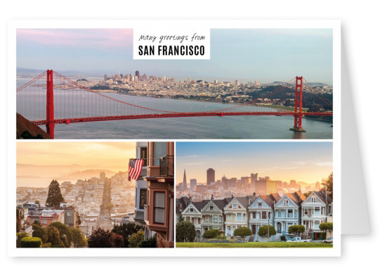 Postcard with three photos of san francisco with white frame.