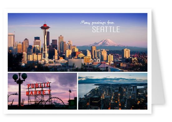 photocollage Seattle with Space Needle and Public Market
