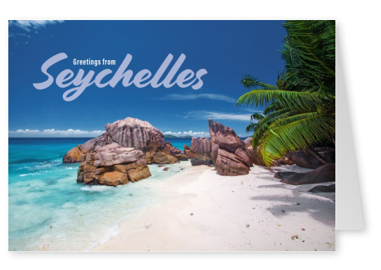 Postcard Sechelles with photo of beach and palms