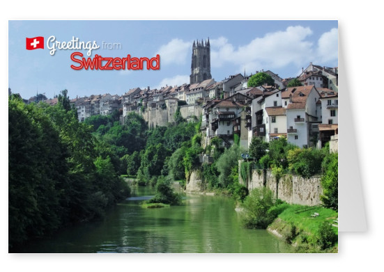 Postcard from Switzerland with a photo of Fribourg