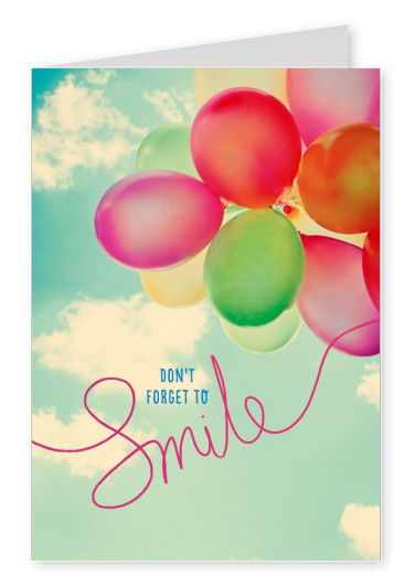 Photo of green, pink and red balloons and don't forget to smile-saying by Gutschverlag–mypostcard