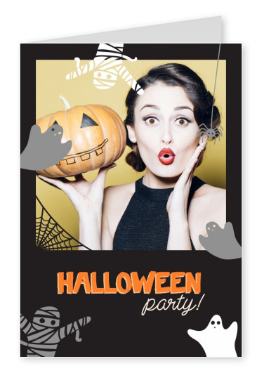 Carta nera con i fantasmi. Halloween party!