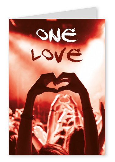 hand with love sign onne love postcard design